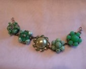 vintage upcycled clip-on earrings bracelet