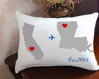 long distance relationship pillow cover,state to state cushion cover,decorative pillow,map pillow,long distance boyfriend,gift for him 3558