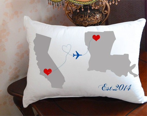 long distance relationship pillow coverstate to state cushion