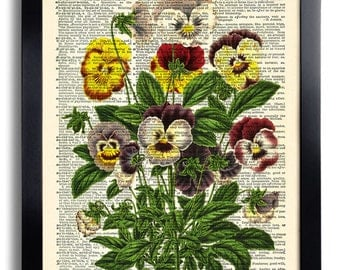 Flower Flowers Art Print Vintage Book Print Recycled Vintage Dictionary Page Collage Repurposed Book Upcycled Dictionary 086