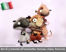 Set of 3 S01IT crochet tutorial: Meerkat, Fedot and Petrovich. Amigurumi Toy-Pertseva Etsy PDF