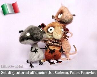 S01IT Set di 3 tutorial all'uncinetto: Suricato, Fedot e Petrovich. Amigurumi Giocattolo - PDF Di Pertseva Etsy