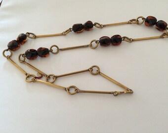 Tortoishell glass and brass 60's necklace unworn