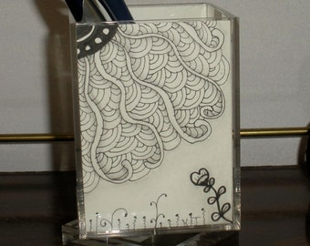 A Day in the City- Pen Cup Hand drawn patterns Inspired by the Zentangle Method