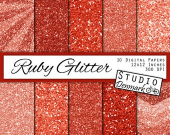 Ruby Red Glitter Digital Paper - Red Sparkle Chunky Glitter Chevron - Deep Red Metallic Shine - 10 Papers - 12in x 12in - Instant Download