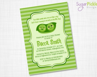 Twins Baby Shower Invitation, Twins Invitation, Twin peas in a pod Invitation, multiples baby shower, baby shower for twins, DIGITAL FILE