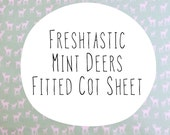 Organic fitted cot sheet. Green mint deers, moose, elk. 100% organic cotton. Modern organic baby fitted cot crib sheet by Avie and Mabel
