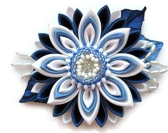 Blue and white kanzashi flower. Headband for girl.