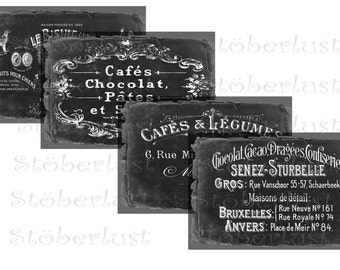 Instant DOWNLOAD 4 old french ephemera Advertisinglabel on a shabby chalkboard background