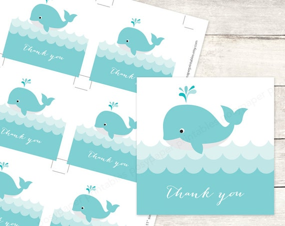 whale baby shower favor tags printable diy baby whales waves ocean favour tags aqua blue baby boy cute thank you cards instant download