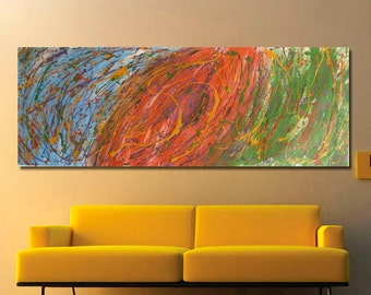 Very Large Colorful Abstract Painting - Unique and original art  Blue, Orange, Green, Gold, Purple, ideal for above couch or bed