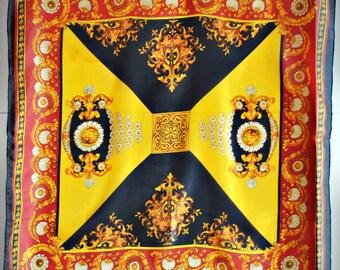 Vintage BAROQUE Silk Scarf / Golden Crest / Gold red black