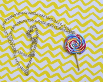 Colorful Sweet Lollipop Necklace, Lollipop Pendant