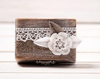 ring box wedding ring holder pillow bearer box wedding ring box wooden engagement ring box burlap - Wedding Ring Boxes