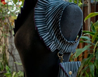 Black & Silver Pinstripe, Ruffle Utility Shoulder Holster w/ Pouches, Reversible to Purple, Custom Size Made to Order