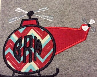 Helicopter shirt with monogram, Applique Helicopter Shirt, Monogram Helicopter