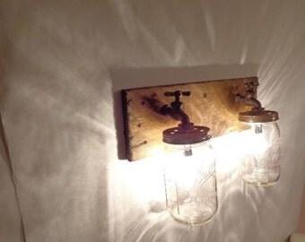 Handmade, Rustic, Mason Jar Vanity Light