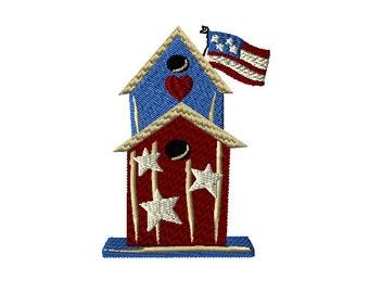 Americana Birdhouse Machine Embroidery Design