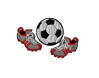 Soccerball and Cleats Machine Embroidery Design
