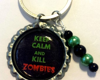 Zombie Bottle Cap Key Chain Handmade