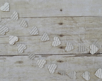 Book page hearts garland, heart banner, book page banner, upcycled book page garland