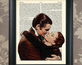 Gone With The Wind - Famous Kiss / Rhett Butler / Scarlett O'Hara / Upcycled Antique Dictionary Art Print / Vintage Greek Encyclopedia