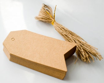 Arrow Kraft Paper Tags with Jute String