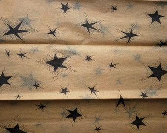 "Black Star on Kraft Tan Tissue Paper .... 10 large sheets ...20"" x30"" .... primitive"