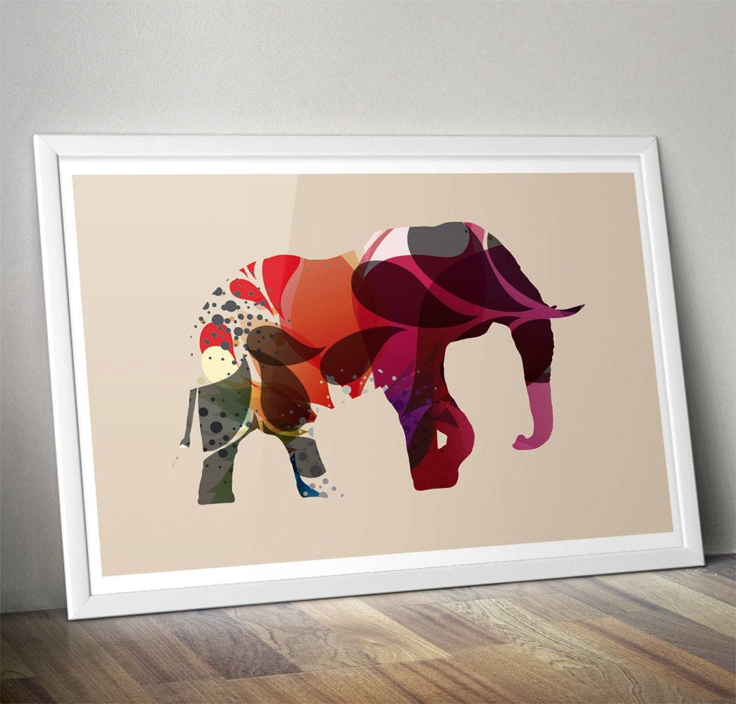 Elephant Colorful Print Premium Wall Art Decor