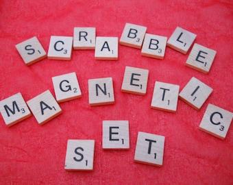 Scrabble Magnetic Set, Scrabble tile Set, Magnetic Scrabble, Letter Magnets,Refrig Magnet, Alphabet Magnets, Scrabble Letters, Scrabble Tile