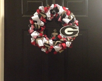 Front door wreath, football wreath, UGA wreath, college wreath, UGA ribbon wreath