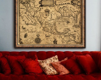 "Old map of America 1600 Historical American map up to 40x30"" (100x75cm) Wall decor USA Mexico old map - Limited Edition of 100"