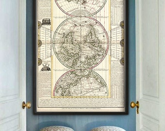 "Map of the World 1782 Old World map in 3 sizes up to 36x54"" (90x140 cm) Rare French vertical map of the World - Limited Edition of 100"