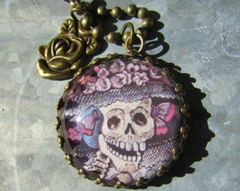 Day of the Dead Pendant on Bras Chain with Brass Rose Charm