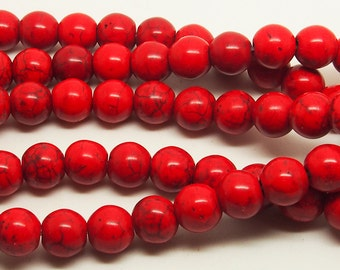 15 inch Full strand Red  Turquoise 10mm Round  Bead