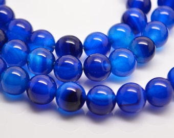15 Inch Full Strand  Blue  Agate 8MM  Round  Bead