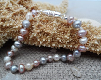 Baby's first pearls, hand-knotted  lavender, blue, and white genuine pearl bracelet