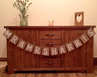 Personalised Mr & Mrs Vintage Wedding Hessian/Burlap Bunting