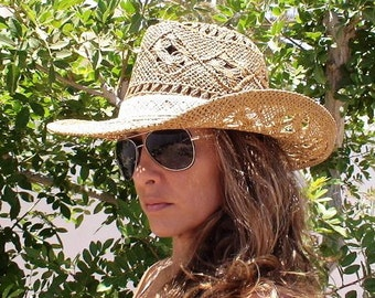 Sexy cowgirl hat, bohemian, boho, hats, custom hats, cowgirl hats, womens hats, straw cowboy hats, summer hats, hats for women, kekugi