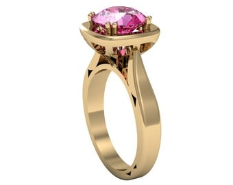 14k Yellow Gold Pink Sapphire Ring,Solitaire Ring, Custom Gold Ring, Wedding Ring, Sapphire Ring, Anniversory