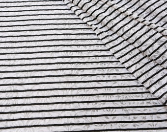 Black and White Stripe with Damask Burnout Knit Fabric by the Yard STK00042