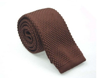 Coffee Knitted Ties.Mens Necktie.Wedding Necktie.Groomsmen Necktie.Men Skinny Knitted Tie.
