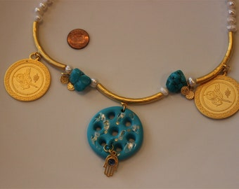 Iraqi traditional seven eye turquoise necklace
