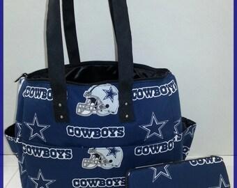 Dallas Cowboys diaper bag. Matching wipe case.Blue. Black