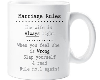 Marriage Rules Mug Wedding Gift No velty Present Engagement Married ...