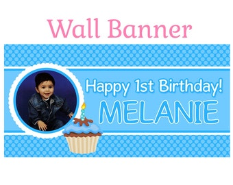 Happy First Birthday Boy Banner ~ Personalize Happy Birthday Party Banners Indoor or Outdoor