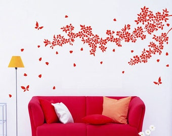 Cherry blossom tree wall sticker,Butterfly Wall Decal,White tree wall decal nursery,Tree branch wall decal,butterfly wall stickers -7270