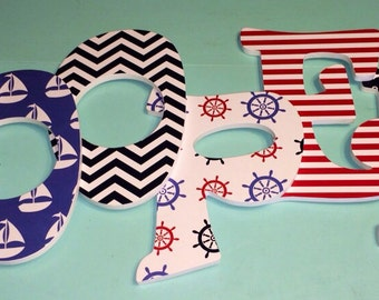 Custom Decorated Wooden Letters - Nautical Theme - Red White and Blue - Anchors - Sailboats