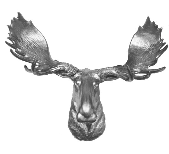 Silver moose head mount wall statue faux taxidermy fake moose - Fake moose head mount ...