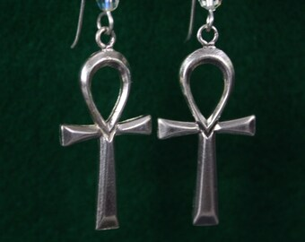 Anhk  Cross - Sterling Silver Dangle Earrings